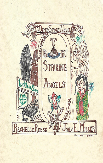 Cover art for Striking Angels depicts two angels, the Luckless Shamrock tavern, Sue-Li Chong, fireworks, a knife, and a gun.